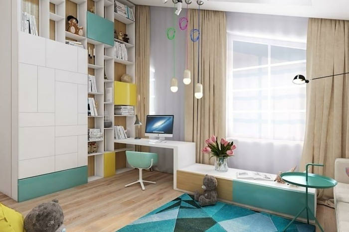farbgestaltung kinderzimmer schöne atmosphäre grün blau beige gardinen