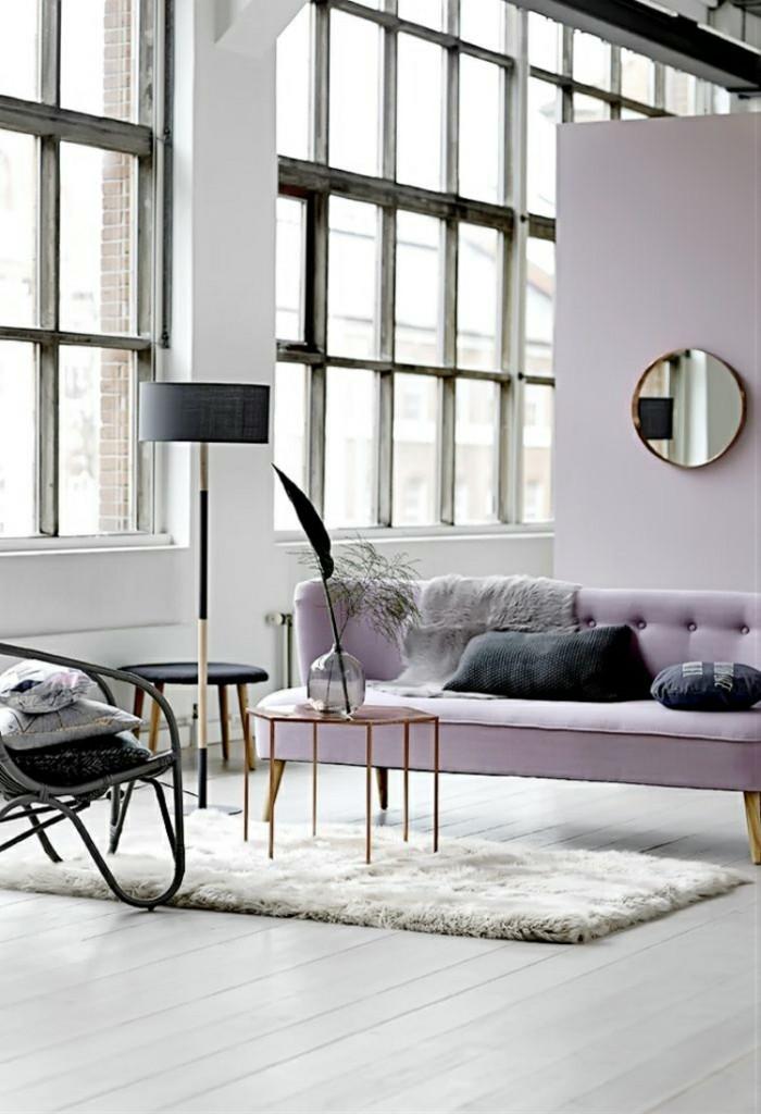 frühlingsfarben flieder farbe wohnzimmer einrichten