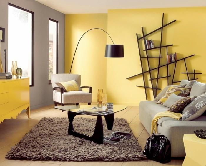 frühlingsfarben gelbe wände brauner teppich wohnideen wohnzimmer