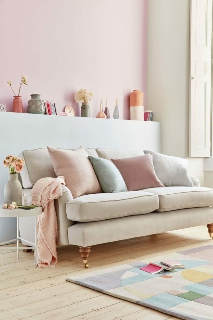 frühlingsfarben pastellfarben holzboden wohnzimmer einrichten