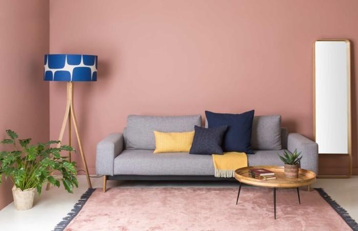 frühlingsfarben warme farbnuancen wohnzimmer ideen