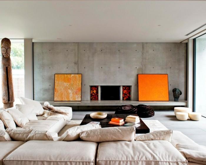 frühlingsfarben wohnliches wohnzimmer orange akzente