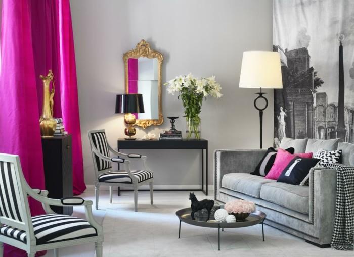 frühlingsfarben wohnzimmer akzente pink