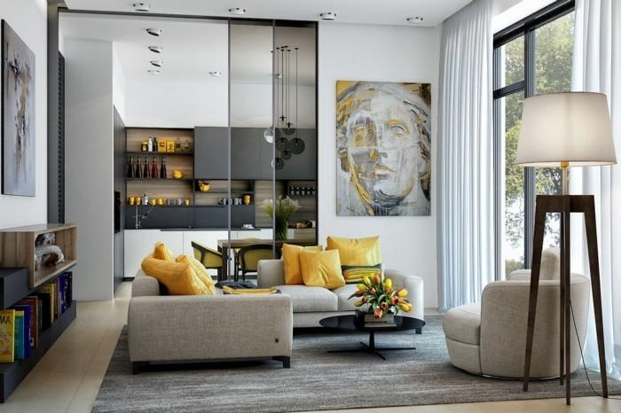 frühlingsfarben wohnzimmer gelbe dekokissen tulpen grauer teppich