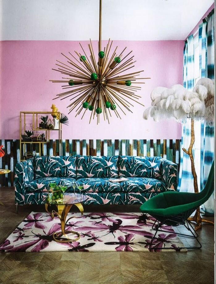frühlingsfarben wohnzimmer ideen muster kombinieren