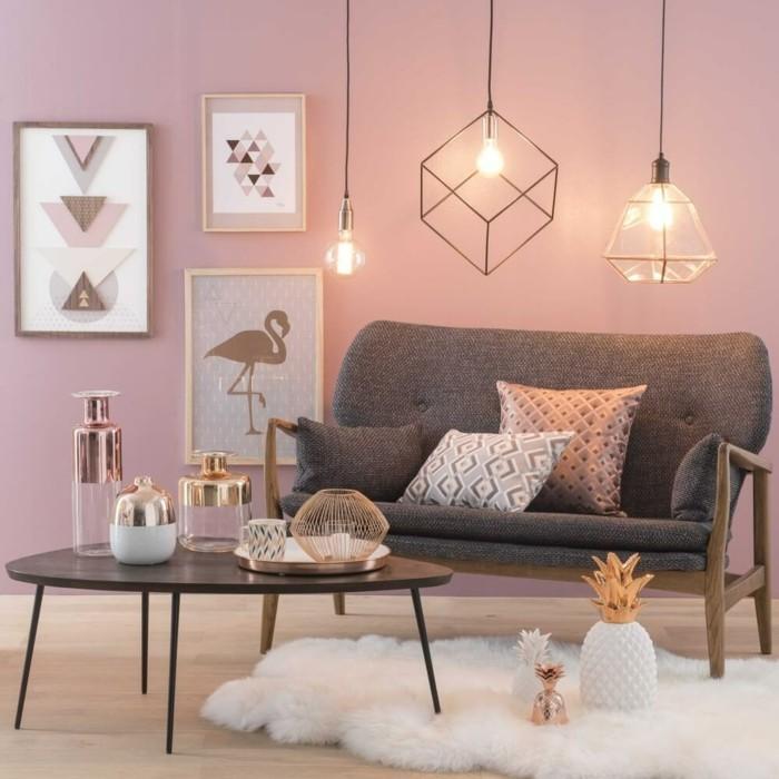 frühlingsfarben zartrosa ideen wohnzimmer weißer teppich elegant