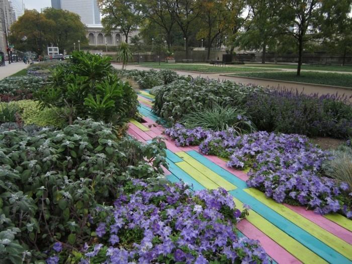 gartenweg anlegen upcycling ideen farben froh frische farben