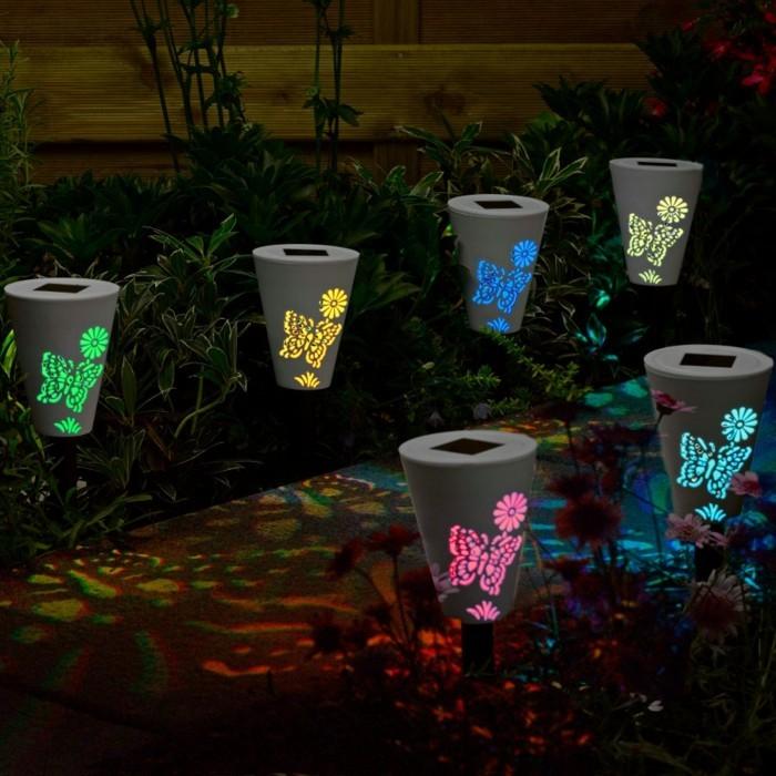 gartenweg anlegen upcycling ideen mit licht gestalten