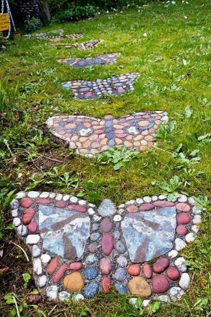 gartenweg anlegen upcycling ideen mit steinen
