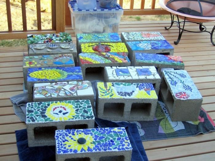gartenweg anlegen upcycling ideen trittsteine individuell gestalten mosaik machen
