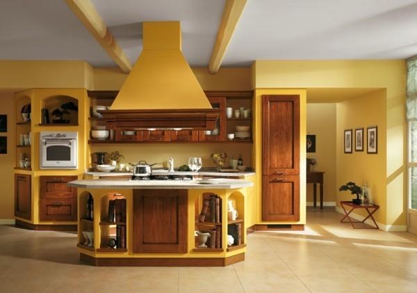 küchen inspiration braun gelb italienisches design