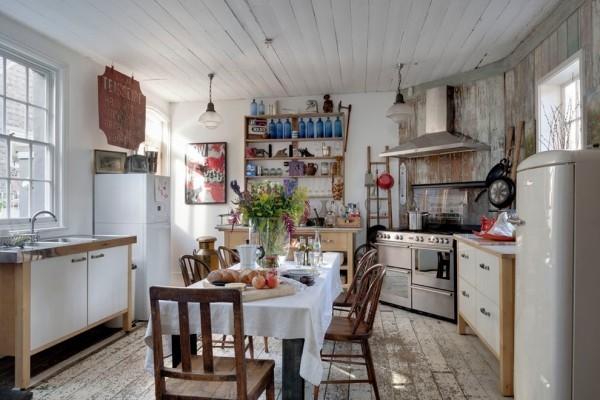 küchen inspiration rustikale akzentwand rustikaler bodenbelag italienischer stil