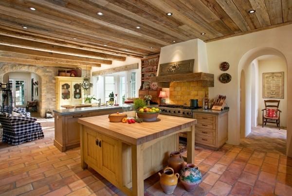 küchen inspiration schöne zimmerdecke bodenfliesen landhausstil