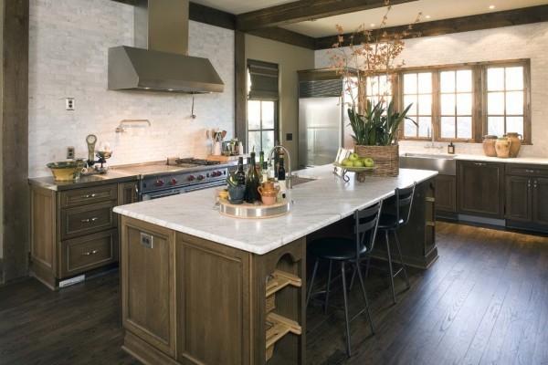 küchen inspiration steinwand freie kücheninsel