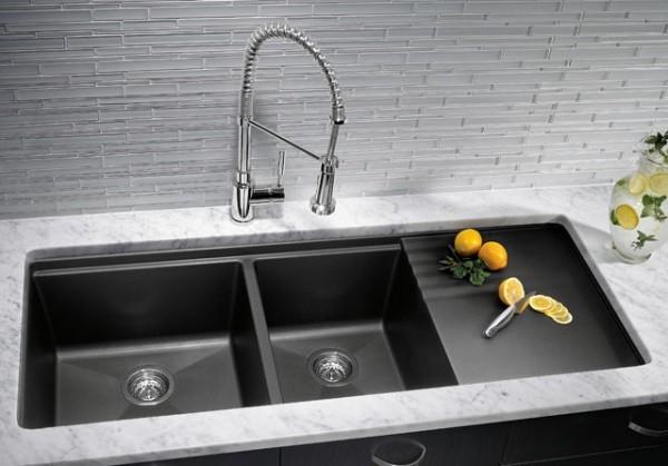 küchenspüle granit dunkle farbe eleganter look