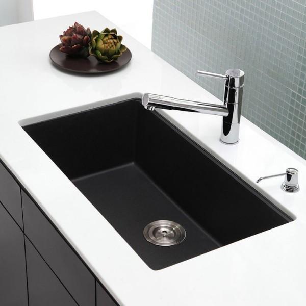 küchenspüle granit farbkontrast schwarz weiß