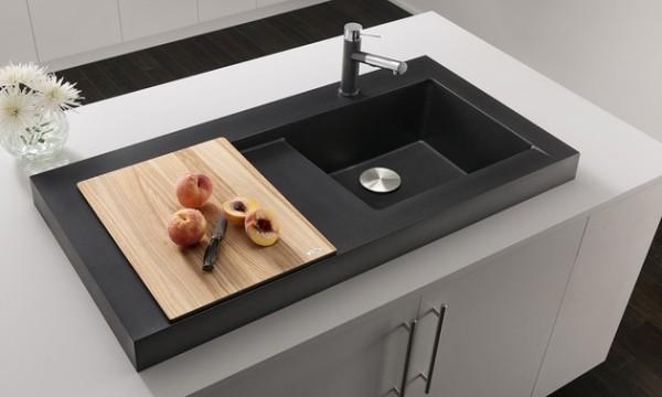 küchenspüle granit minimalistisch schwarz