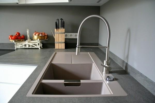 küchenspüle granit schöne optik minimalistischer stil