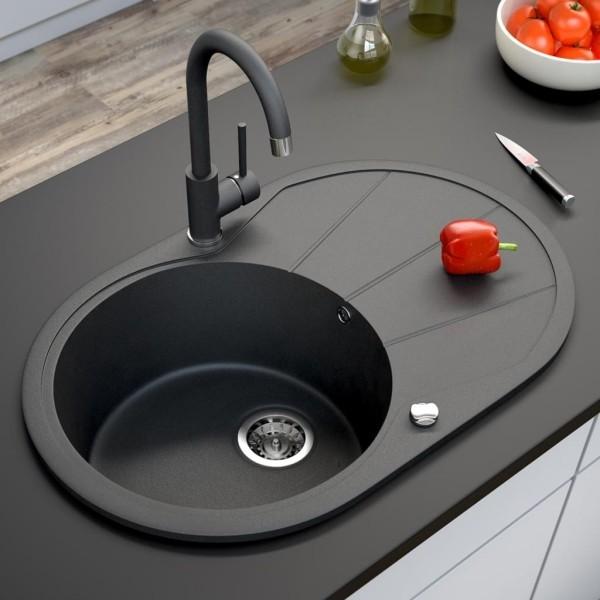 küchenspüle granit schönes design rund schwarz