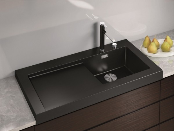 küchenspüle granit schwarz rechteckig