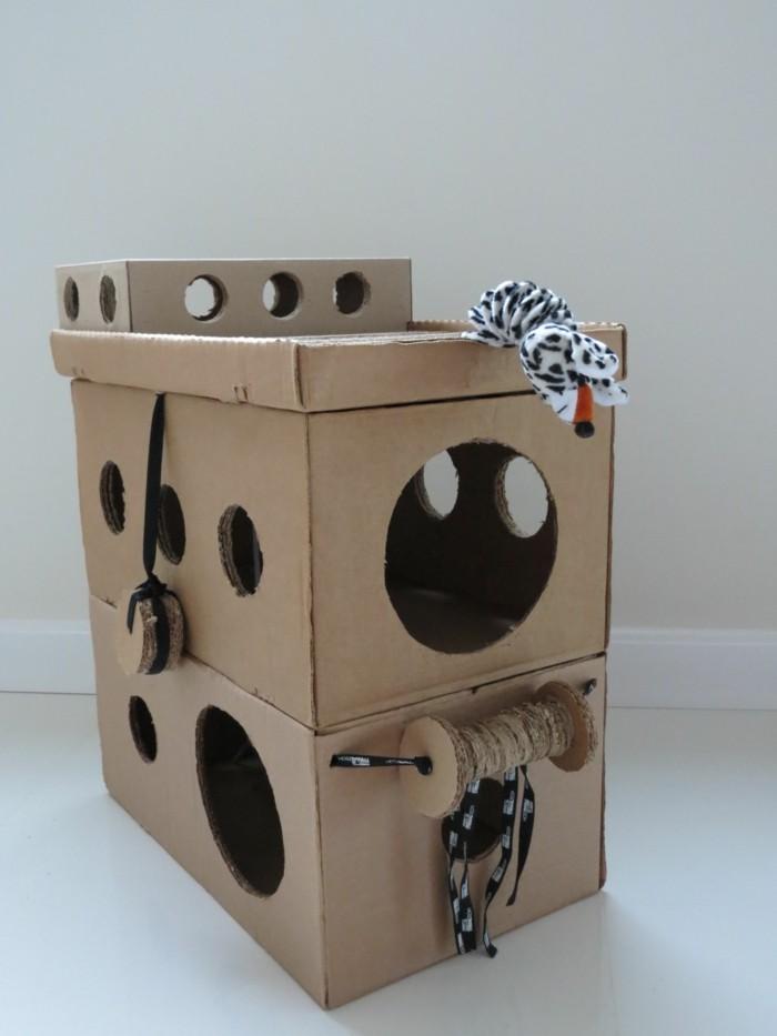 katzenhaus selber bauen moebel aus pappe katzenhaus aus karton loecher