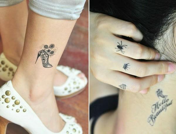 kleine tattoos frauen finger hals unterschenkel tätowierung