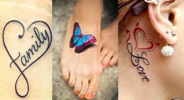 kleine tattoos frauen hals fuß 3d