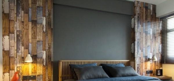 laminat an die wand schlafzimmer akzentwand farbig frisch