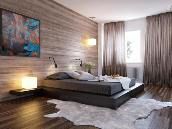 laminat an die wand schlafzimmer gestalten ideen