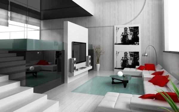 laminat an die wand wohnzimmer helles design rote dekokissen akzente