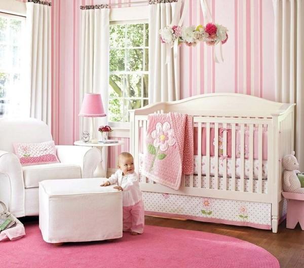 mädchen babyzimmer gestalten runder teppich rosa weiß