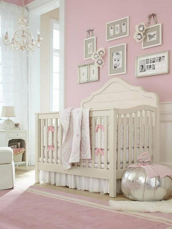 mädchen babyzimmer hellrosa wände rosa teppich weißes babybett