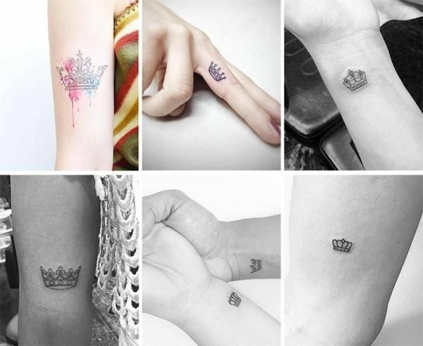 mini tattoos frauen krone tätowierung