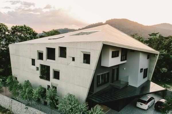 moderne architektur hohe vogelperspektive