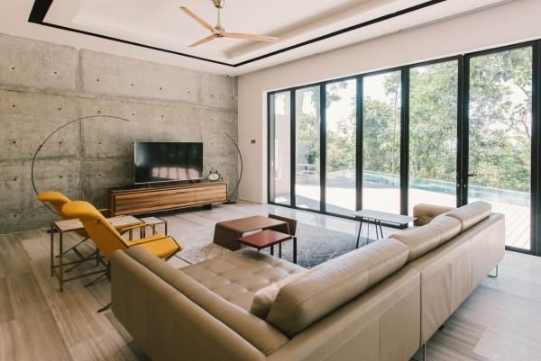 moderne architektur wohnhzimmer zum garten