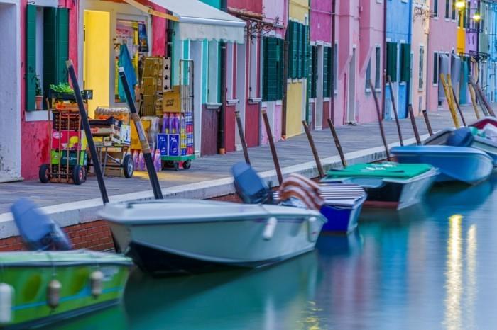 Boats moored in a canal, Canali Di Venezia, Burano, Venetian Lagoon, Venice, Veneto, Italy