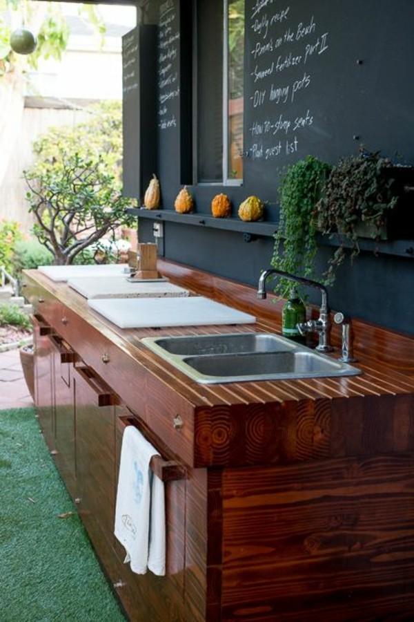 outdoor küche aus edlem holz garten lounge