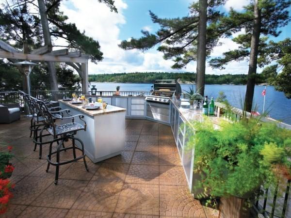 outdoor küche aussicht auf den see garten lounge