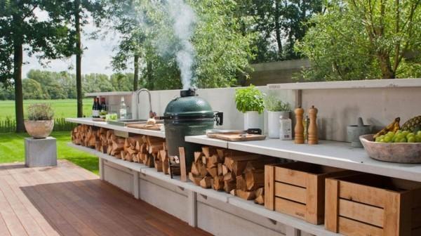 outdoor küche breite aurbeitsflächen garten lounge
