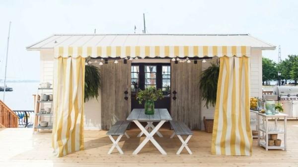 outdoor küche einfacher sitztisch garten lounge