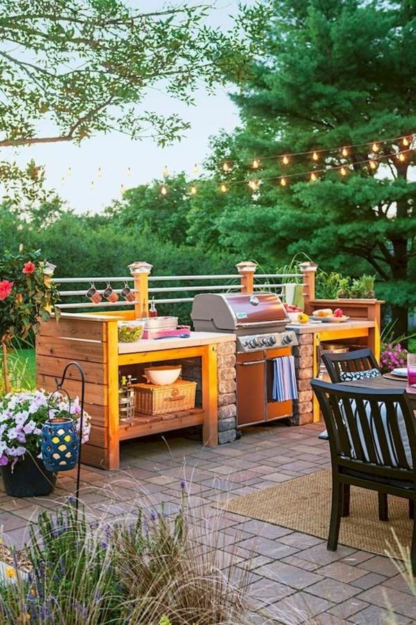outdoor küche garten lounge helle farben