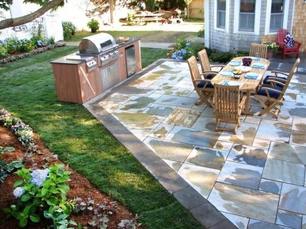 outdoor küche garten lounge mit tollen steinfliesen