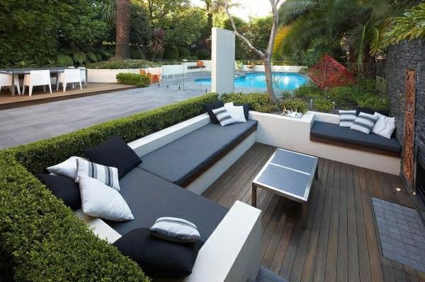 outdoor küche graue udn weiße nuancen garten lounge