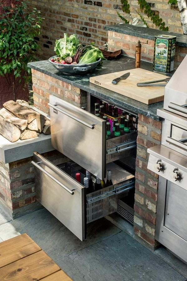 outdoor küche kühlschrank idee garten lounge