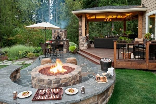 outdoor küche tolle feuerstelle garten lounge