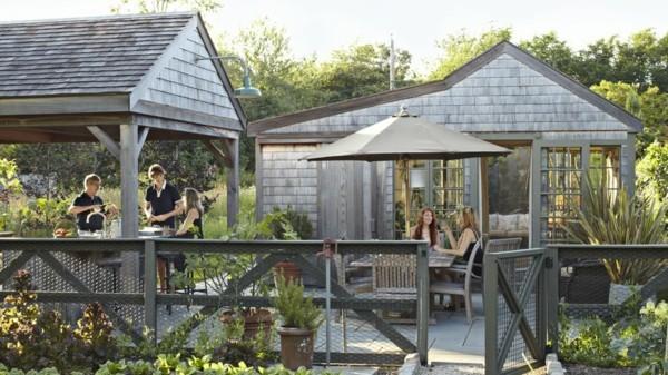 outdoor küche zonierung mit überdachungen garten lounge