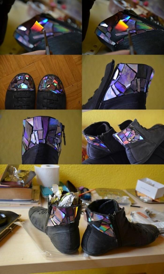 recycling bastelin mit cds upcycling ideen wand deko ideen farbgestaltung schuhe