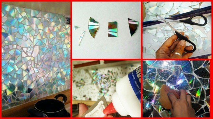 recycling bastelin mit cds upcycling ideen wand deko ideen kerzenstaender lichtreflektor deko