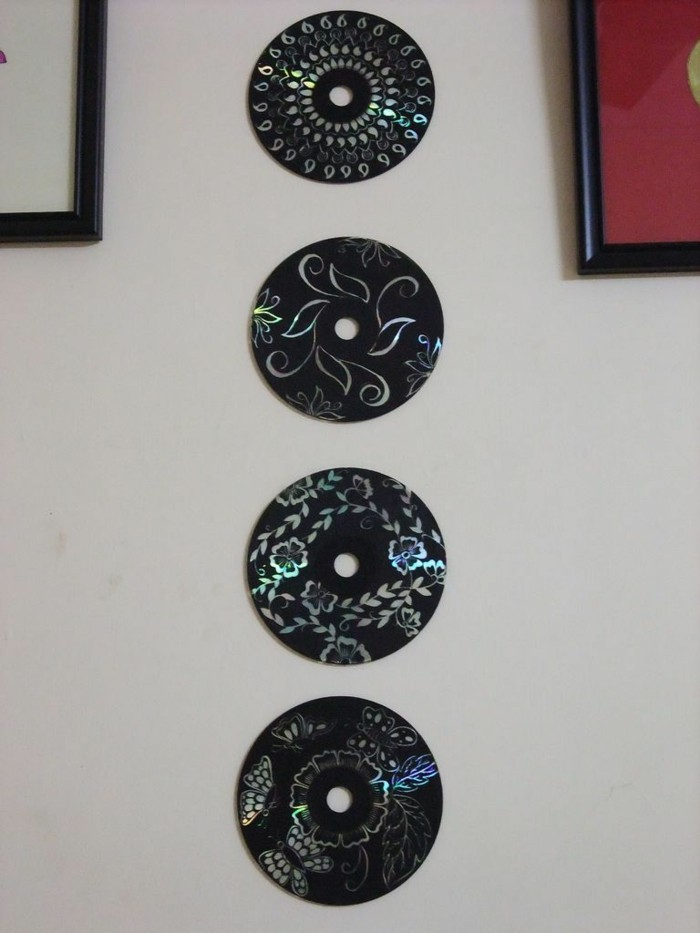 recycling bastelin mit cds upcycling ideen wand deko ideen leinwand selber machen