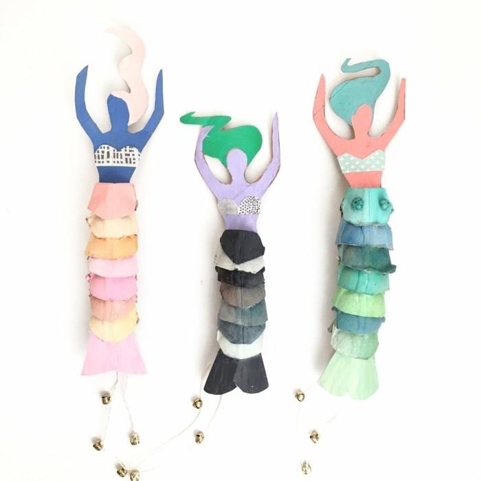 resycling basteln mit eierkarton basteln mit kindern basteln mit klopapierrollen blumenkranz ausstellung meerjungfrau
